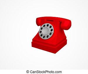vendange, téléphone, illustration, isolé, arrière-plan., vecteur, téléphone., blanc rouge, 3d