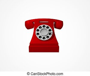 vendange, téléphone, isolé, arrière-plan., vecteur, téléphone., blanc rouge
