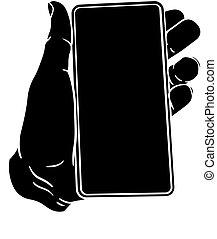 vendange, téléphone, main, mobile, style, tenue