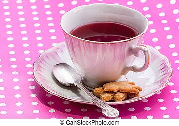 vendange, tasse, à, thé