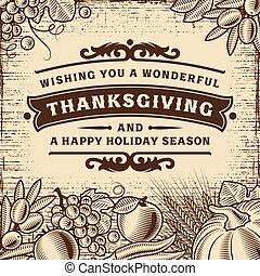 vendange, thanksgiving, carte, brun
