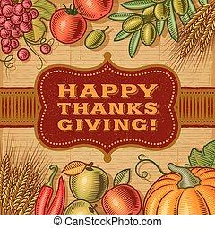 vendange, thanksgiving, carte, heureux