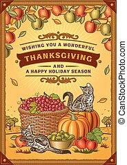 vendange, thanksgiving, carte voeux