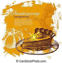 vendange, thanksgiving, main, fond, dessiné, jour