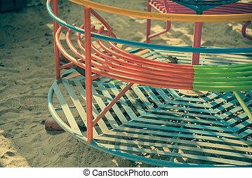 vendange, tonalité, image, de, vieux, carrousel, .