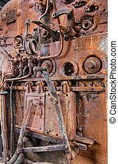vendange,  train,  détails, vapeur