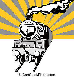vendange, train, retro