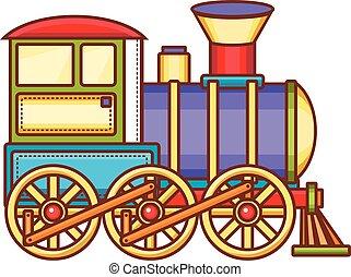 vendange, train, vecteur, icon.