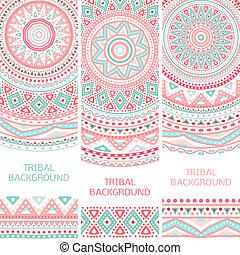vendange, tribal, bannières, ethnique