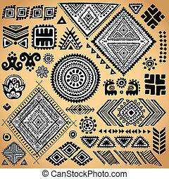 vendange, tribal, ensemble, ethnique, modèle