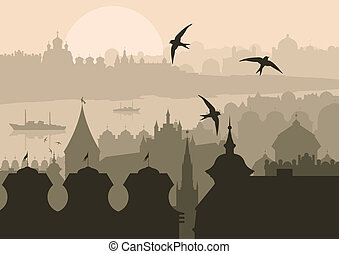 vendange, turc, ville, istanbul, paysage
