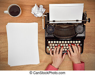 vendange, typewriter., dactylographie, mains