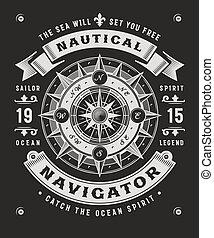 vendange, typographie, arrière-plan noir, nautique, navigateur