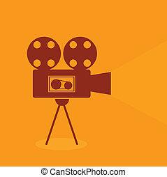 vendange, unique, vidéo, retro, icône