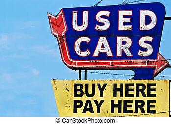 vendange, utilisé, néon, voiture, signe