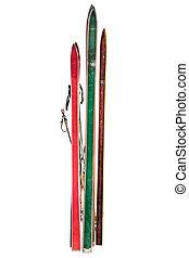 vendange, utilisé, skis, isolé, blanc