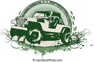 vendange, véhicule militaire
