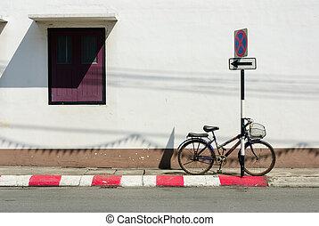 vendange, vélo, blanc, mur