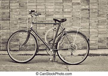 vendange, vélo, garé, rue