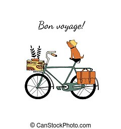 vendange, vélo, illustration.