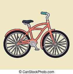 vendange, vélo, isolé, icône, conception