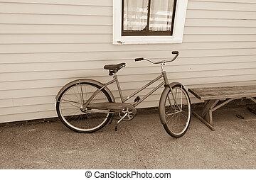 vendange, vélo, penchement mur