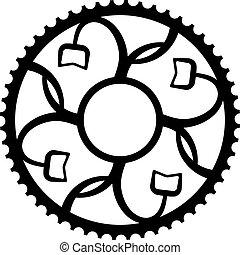 vendange, vélo, roue dentée, chainwheel, symbole