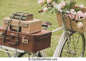 vendange, vélo, sur, les, champ