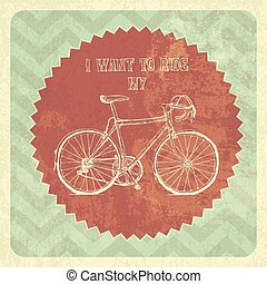 vendange, vélo, vecteur, poster.