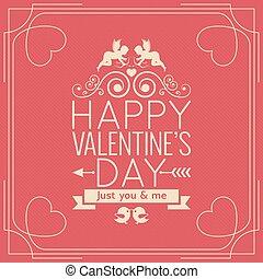 vendange,  valentines, fond, affiche, frontière, jour