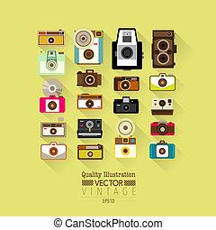 vendange, vecteur, appareil photo, plat, icône
