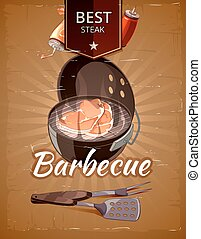 vendange, vecteur, barbecue, affiche