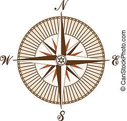 vendange, vecteur, brun, compas