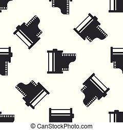 vendange, vecteur, cartouche, filmstrip, photographe, equipment., isolé, illustration, seamless, gris, arrière-plan., appareil-photo 35mm, icon., canister., modèle, blanc, bobine, rouleau, pellicule, icône