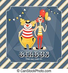 vendange, vecteur, clowns, carte