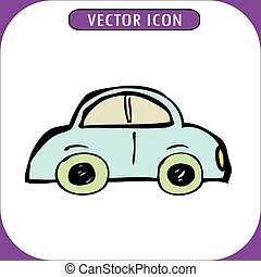 vendange, vecteur, dessin animé, illustration, voiture
