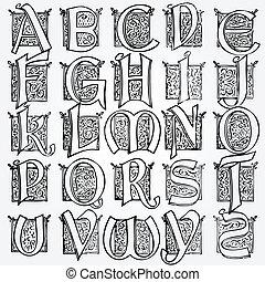 vendange, vecteur, ensemble, alphabet