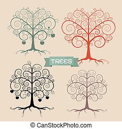 vendange, vecteur, ensemble, arbres, illustration
