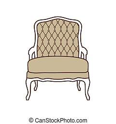 vendange, vecteur, fauteuil