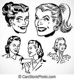 vendange, vecteur, femmes