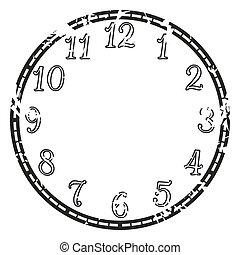vendange, vecteur, horloge