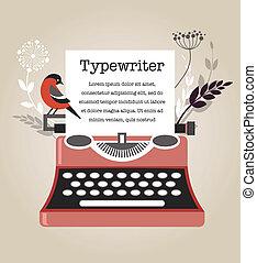 vendange, vecteur, machine écrire