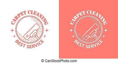 vendange, vecteur, nettoyage, service, logos
