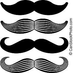 vendange, vecteur, noir, moustache, icônes