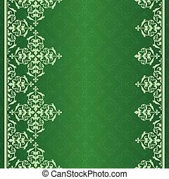 vendange, vecteur, ornement, arrière-plan vert