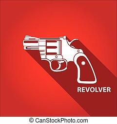 vendange, vecteur, pistolet, fusil, icône