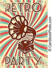 vendange, vecteur, publicité, affiche, fête, phonographe