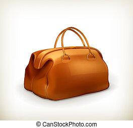 vendange, vecteur, sac
