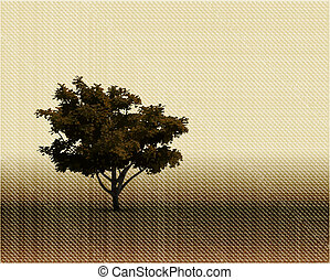 vendange, vecteur, silhouette, tapestry., arbre