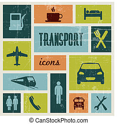 vendange, vecteur, transport, affiche